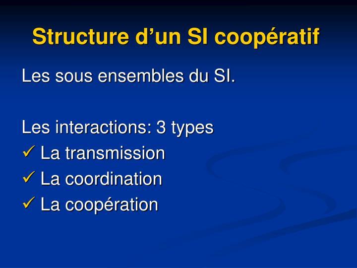 Structure d'un SI coopératif