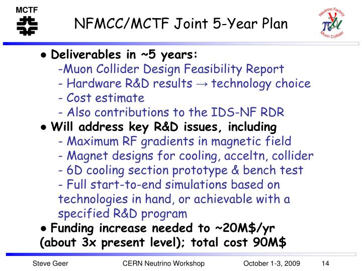 NFMCC/MCTF Joint 5-Year Plan