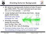 shielding detector backgrounds