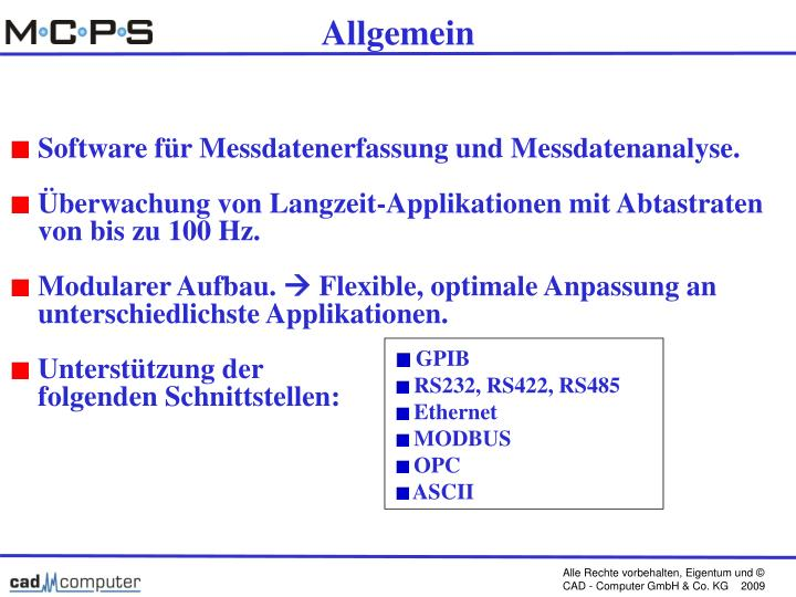 Software für Messdatenerfassung und Messdatenanalyse.
