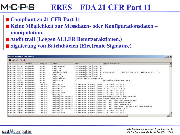 ERES – FDA 21 CFR Part 11