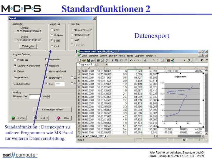 Standardfunktionen 2