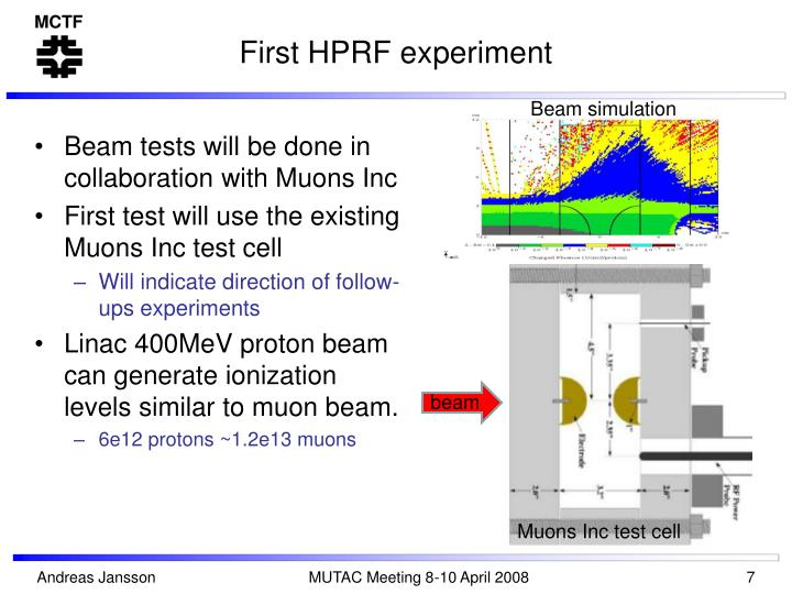 First HPRF experiment