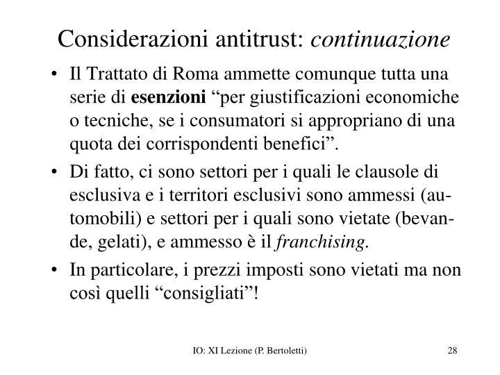 Considerazioni antitrust: