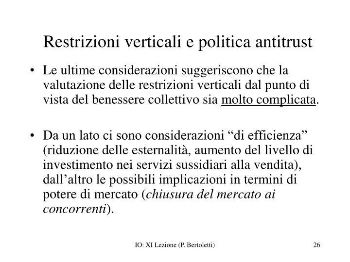 Restrizioni verticali e politica antitrust