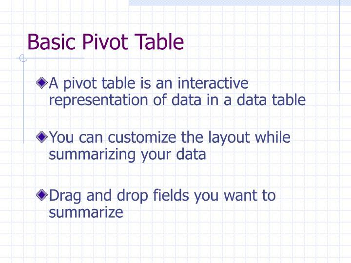 Basic Pivot Table