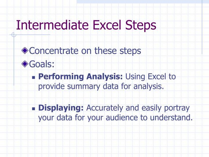 Intermediate Excel Steps