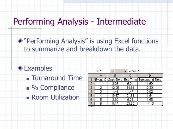 Performing Analysis - Intermediate