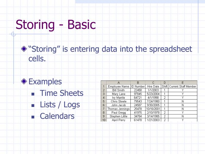 Storing - Basic