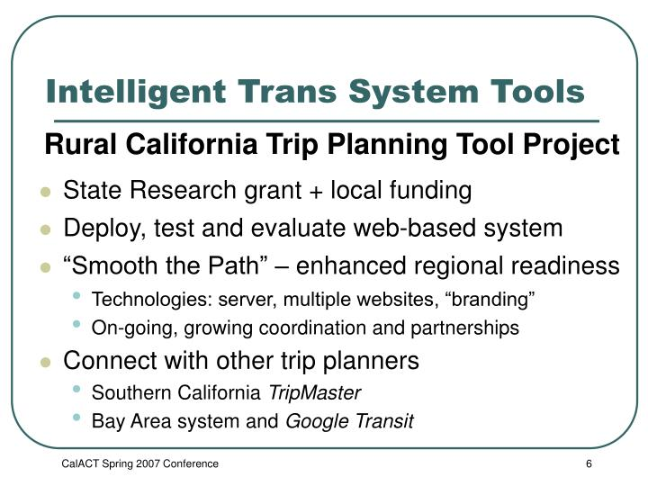 Intelligent Trans System Tools
