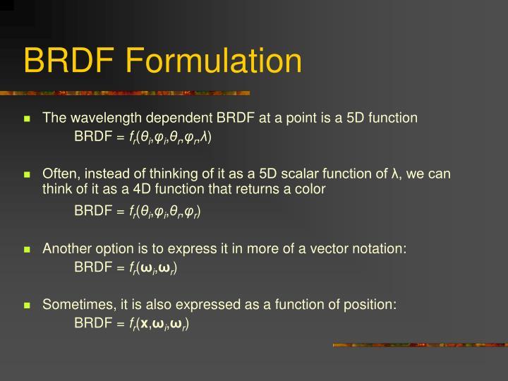 BRDF Formulation