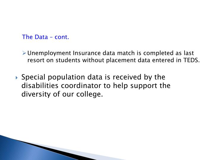 The Data – cont.