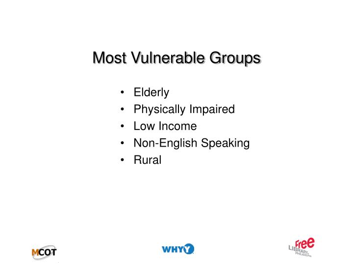 Most vulnerable groups