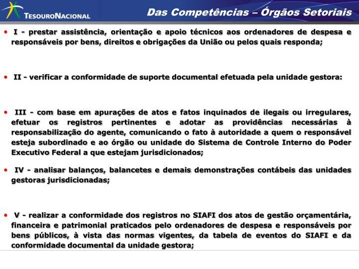 Das Competências – Órgãos Setoriais
