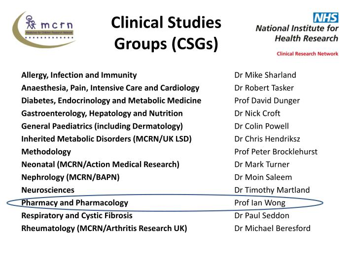 Clinical Studies Groups (CSGs)
