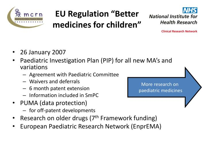 Eu regulation better medicines for children