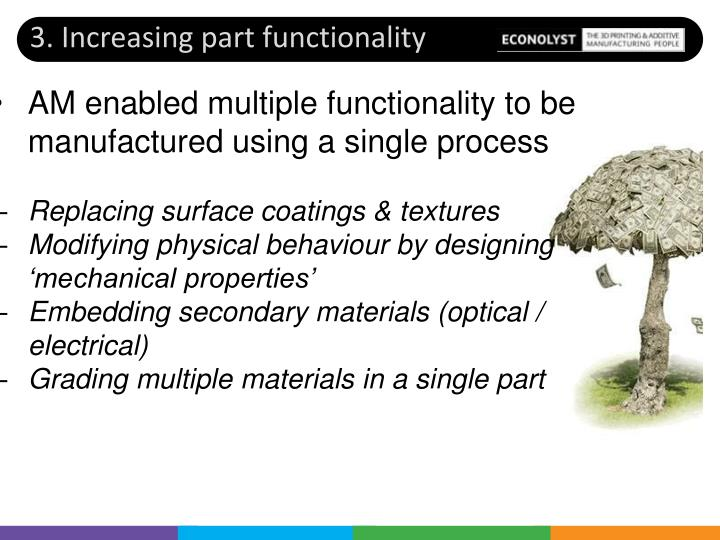 3. Increasing part functionality