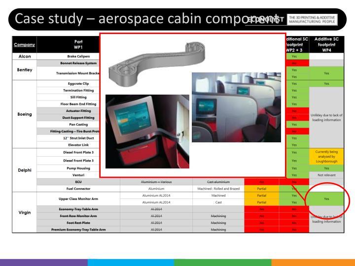Case study – aerospace cabin component