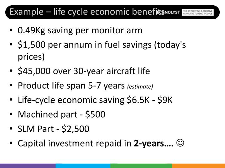 Example – life cycle economic benefits