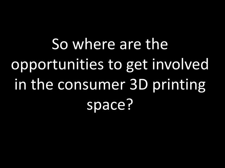 So where are the opportunities to get involved in the consumer 3D printing space?