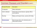 common diseases and disorders cont