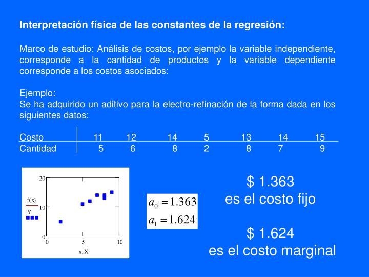 Interpretación física de las constantes de la regresión: