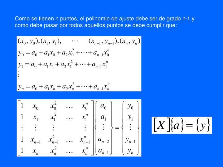 Como se tienen n puntos, el polinomio de ajuste debe ser de grado n-1 y como debe pasar por todos aquellos puntos se debe cumplir que: