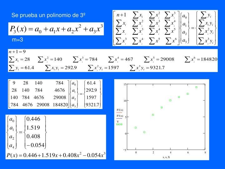 Se prueba un polinomio de 3º