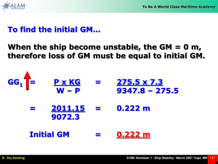 To find the initial GM…
