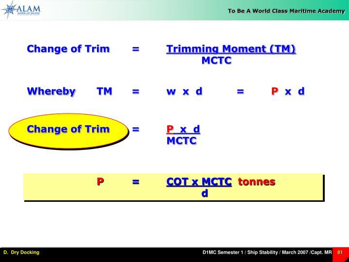 Change of Trim=