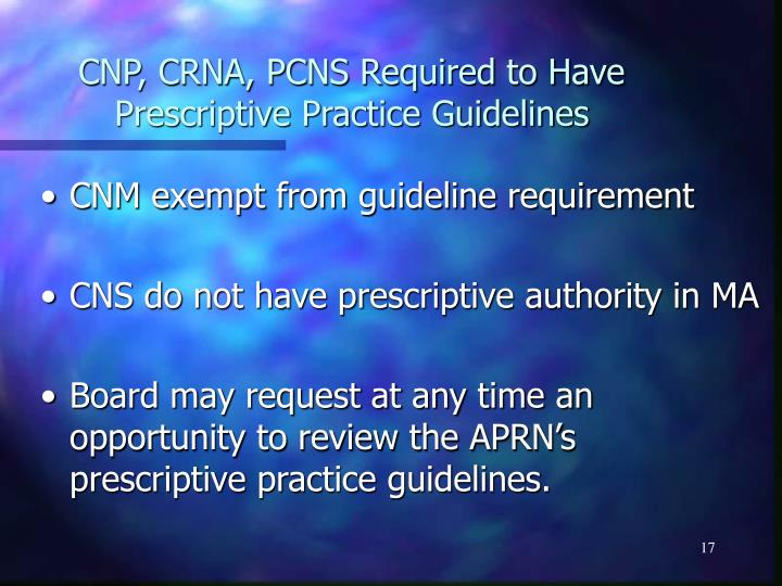 CNP, CRNA, PCNS Required to Have Prescriptive Practice Guidelines
