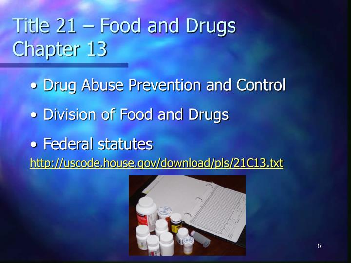 Title 21 – Food and Drugs