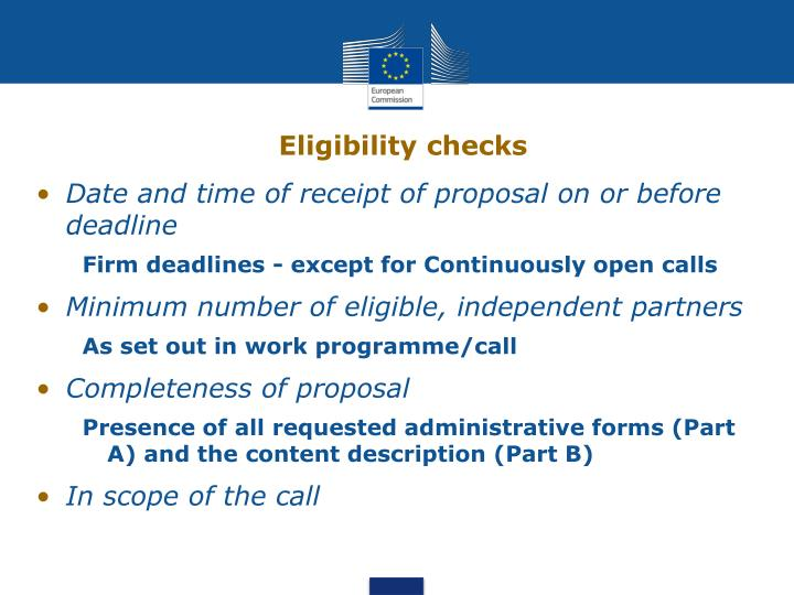 Eligibility checks