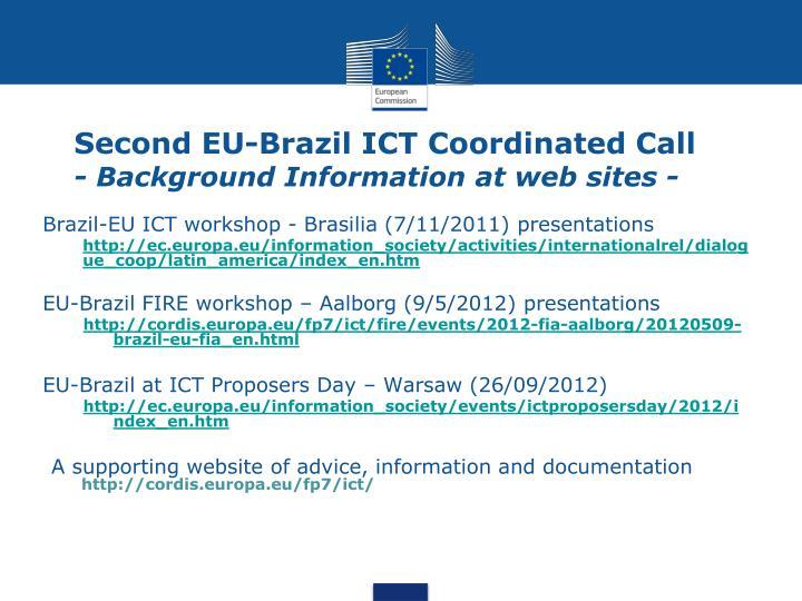 Second EU-Brazil ICT Coordinated Call