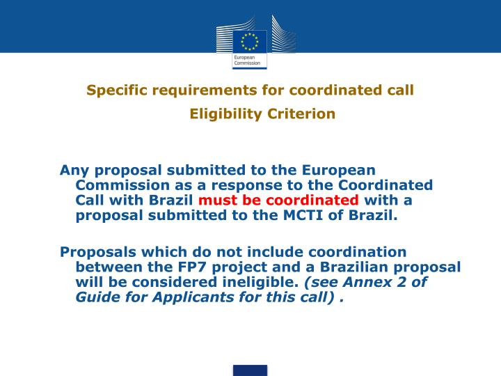 Specific requirements for coordinated call