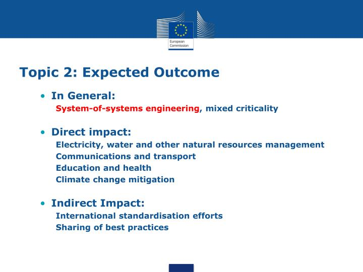 Topic 2: Expected Outcome