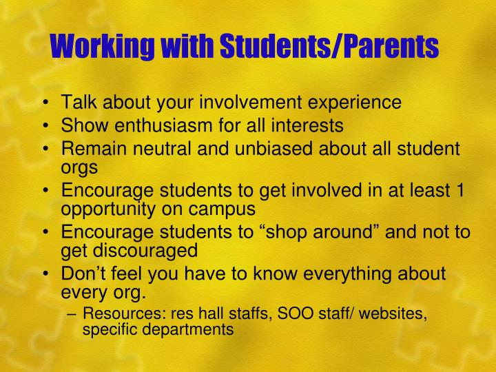 Working with Students/Parents