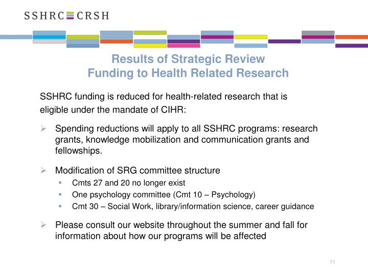 Results of Strategic Review