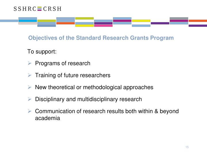 Objectives of the Standard Research Grants Program
