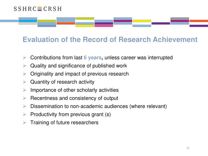 Evaluation of the Record of Research Achievement