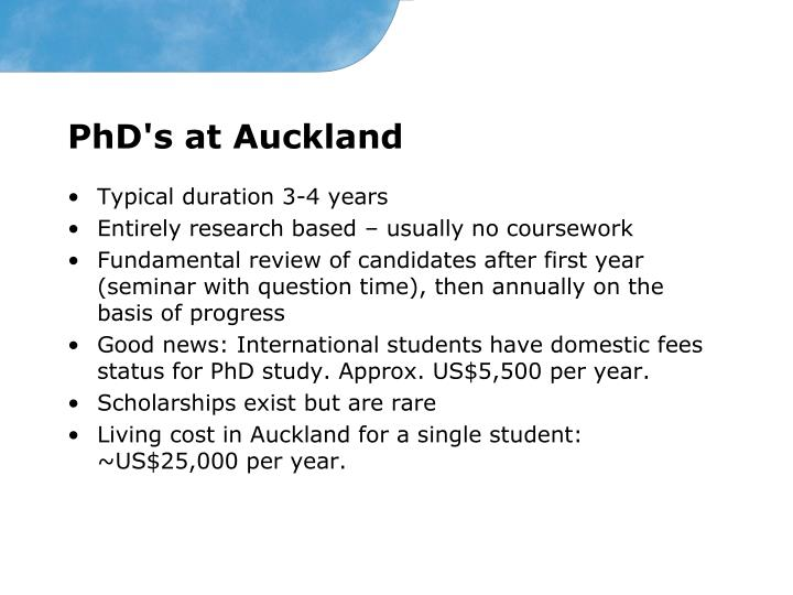 PhD's at Auckland