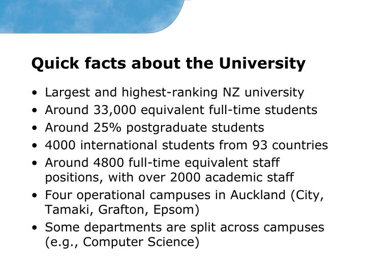 Quick facts about the University