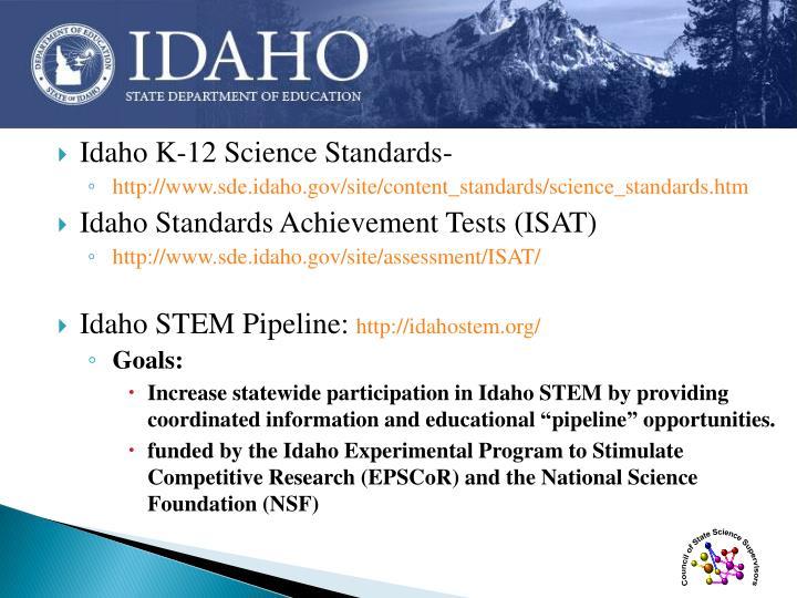 Idaho K-12 Science Standards-