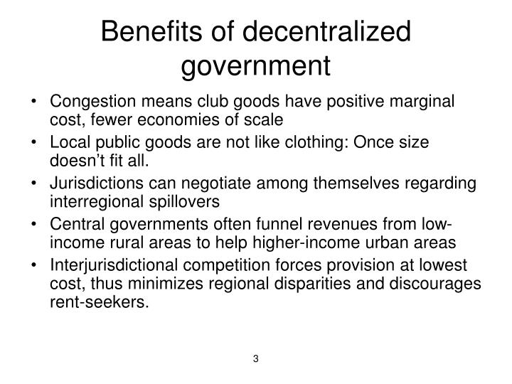 Benefits of decentralized government