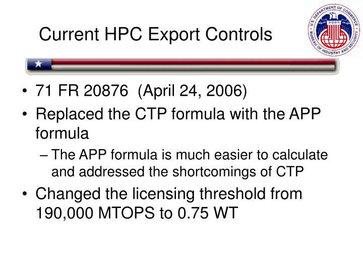 Current HPC Export Controls