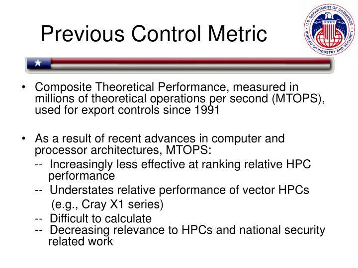 Previous Control Metric
