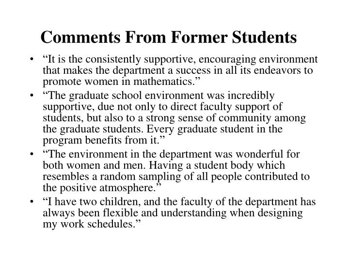 Comments From Former Students