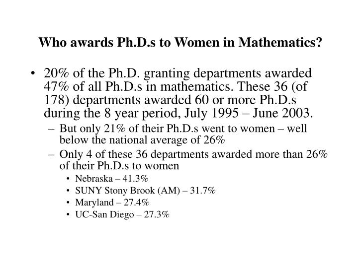 Who awards ph d s to women in mathematics