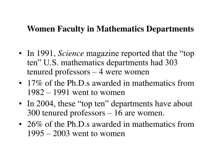 Women faculty in mathematics departments