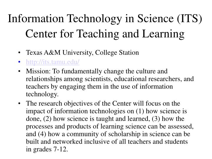 Information Technology in Science (ITS) Center for Teaching and Learning
